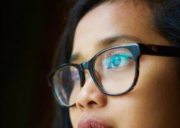 glasses treated with anti glare spray